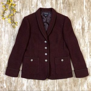 {Brooks Brothers} 100% Wool Blazer Maroon Pockets
